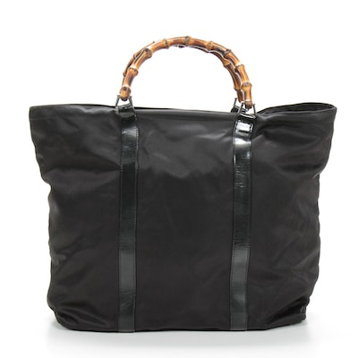 Gucci Bamboo Black Nylon Canvas Tote Trimmed in Leather