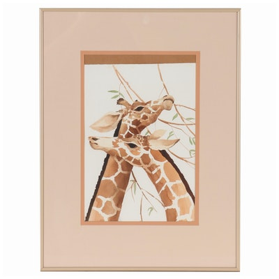 Watercolor Painting of Giraffes, Late 20th Century