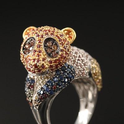 Sterling Silver Sapphire Panda Bear Motif Ring