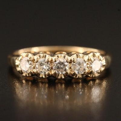 14K Five Diamond Band