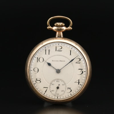 1920 South Bend Gold Filled Open Face Pocket Watch