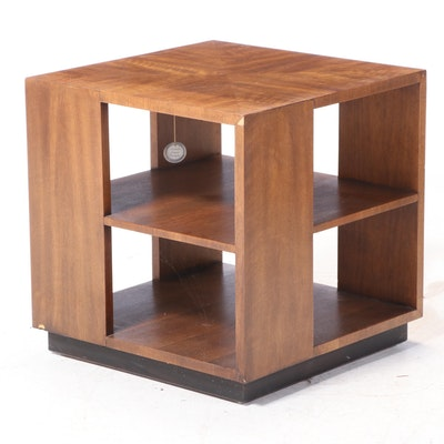 Henredon Mid Century Modern Walnut and Parcel-Ebonized Three-Tier Side Table