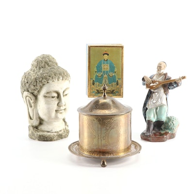 Asian Ceramic and Resin Buddha Figurals, Wooden Gilt Box and Copper Compote Bowl