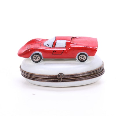 "Hand-Painted Limoges ""Porsche 910"" Porcelain Box, Late 20th Century"