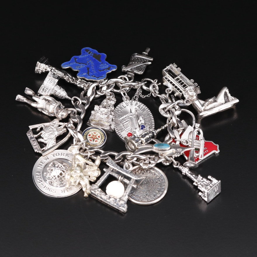 Vintage Sterling Travel Themed Charm Bracelet with New York World Fair Charm