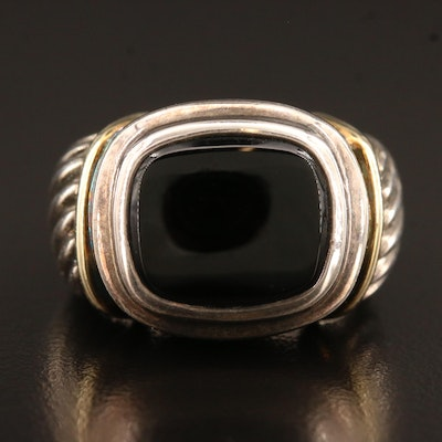 David Yurman Sterling Silver Black Onyx Cable Ring with 14K Accents