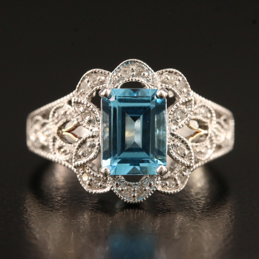 Sterling Silver Topaz and Diamond Openwork Ring with Milgrain Detailing