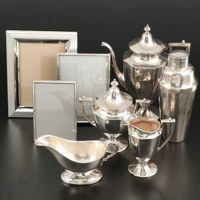Silver Plate Coffee Set and Cocktail Shaker with Silver Tone Picture Frames