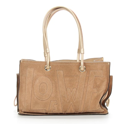 Loewe Gold Metallic Suede and Leather Satchel Handbag