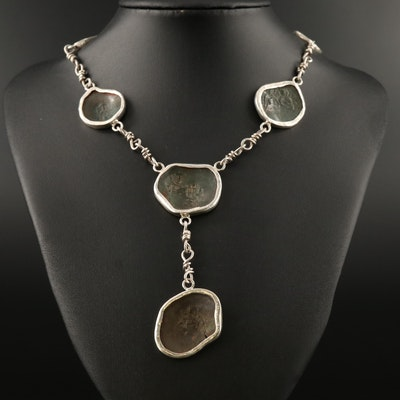950 Silver Necklace with Ancient Byzantine Billon Aspron Trachy Coins