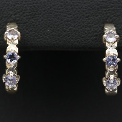 Sterling Silver Tanzanite J Hoop Earrings