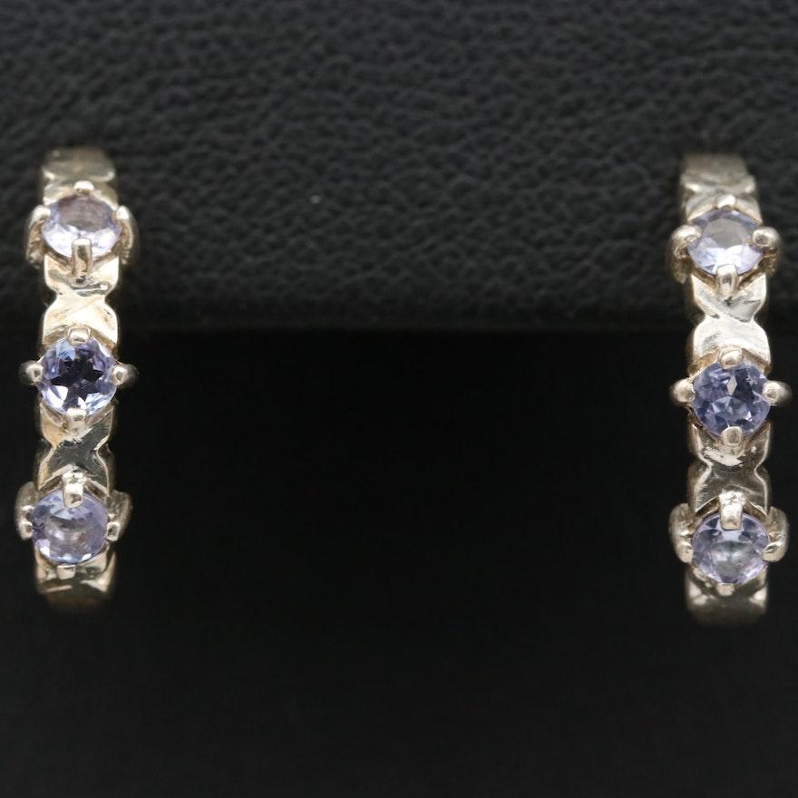 Sterling Silver Tanzanite J Hoop Earrings