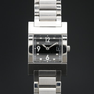 Gucci Black Dial with Date Stainless Steel Quartz Wristwatch