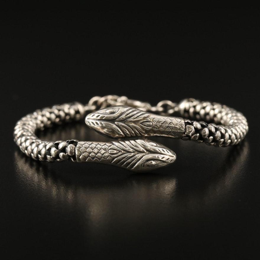 950 Silver Double Headed Snake Bracelet