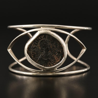 Sterling Silver Cuff Featuring Ancient Byzantine Coin Accent