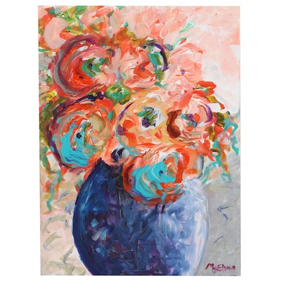 """Claire McElveen Floral Still Life Acrylic Painting """"Celebration of Life"""", 2020"""