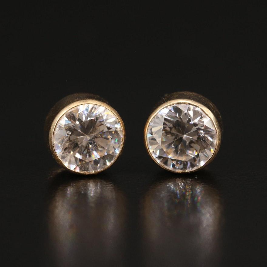 14K Bezel Set Cubic Zirconia Stud Earrings