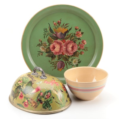 Richard Perry & Son Domed Meat Cover, Tole Tray, and Mixing Bowl