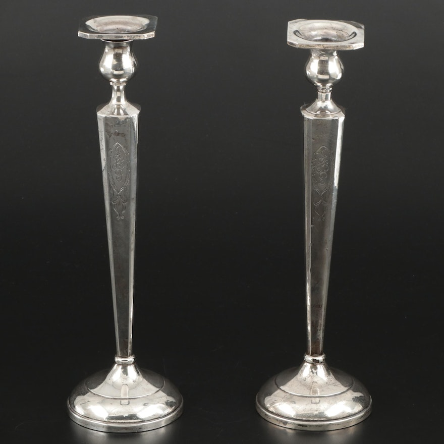 Sterling Silver Art Deco Style Candlesticks and Bobeches