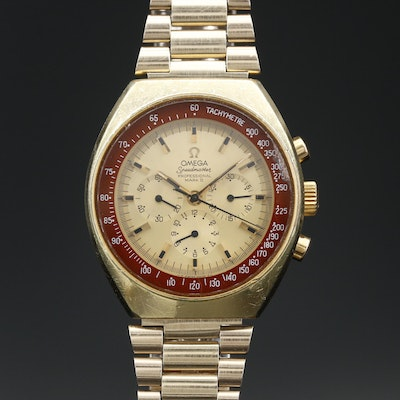 1972 Omega Speedmaster Mark II Gold Tone Stem Wind Wristwatch