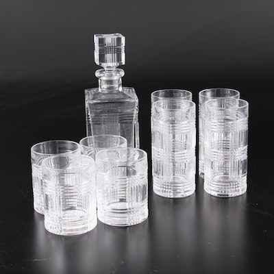 "Ralph Lauren ""Glen Plaid"" Cut Glass Decanter, Old Fashioned and Highball Glasses"