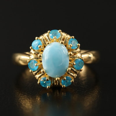 Sterling Silver Larimar and Apatite Ring