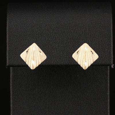 14K Diamond Cut Earrings
