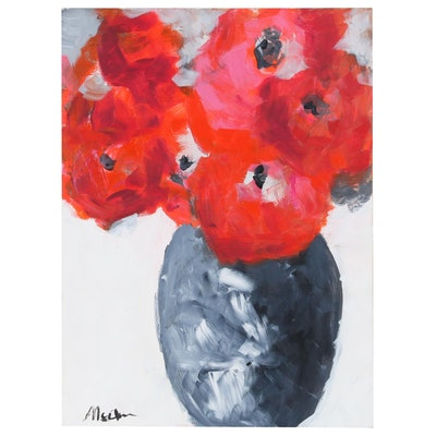 "Claire McElveen Floral Still Life Acrylic Painting ""Simple Pleasures"""
