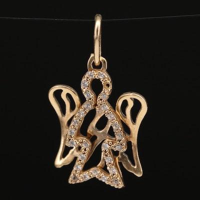14K Cubic Zirconia Angel Pendant