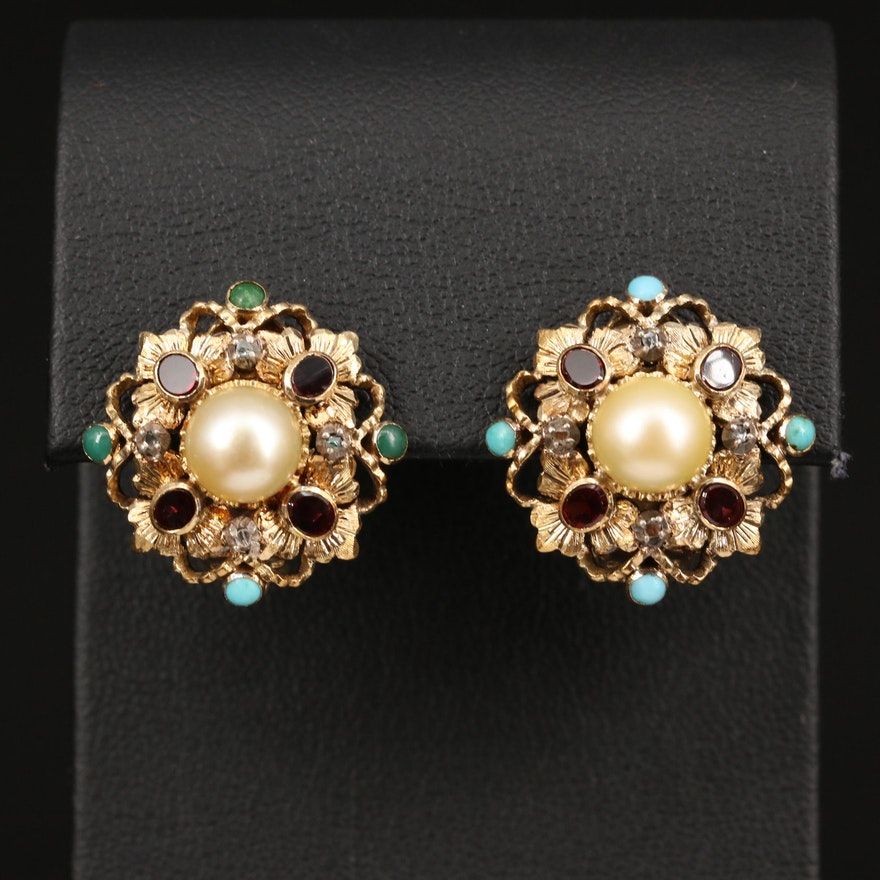 Vintage Portuguese 18K Pearl and Gemstone Earrings