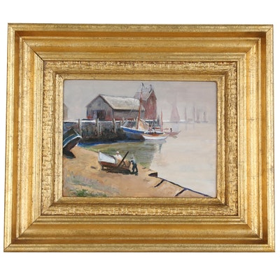 Harbor Scene Oil Painting of Boats at Wharf