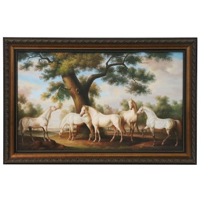 Oil Painting of White Horses in Pasture