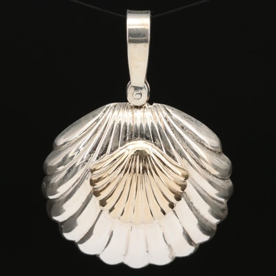 Pierre Cardin Sterling Silver Shell Pendant with 14K Accent