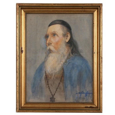 "Ference Ujvary Embellished Watercolor Painting ""Rabbi"", Early-Mid 20th Century"