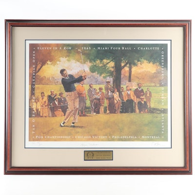 "Byron Nelson Signed ""The Broadmoor 1995"" by Bart Forbes Framed Print"