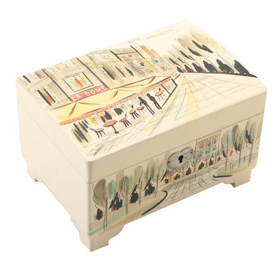 Japanese Hand-Painted Jewelry and Music Box with French Motif