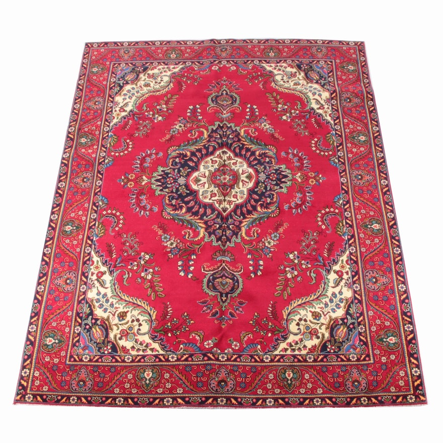 9'4 x 12'8 Hand-Knotted Persian Kashan Wool Rug