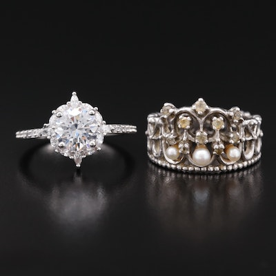 Sterling Silver Rings Featuring Sapphire, Pearl and Cubic Zirconia Accents