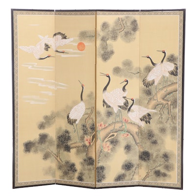 Japanese Red-Crowned Crane Hand-Painted Folding Screen