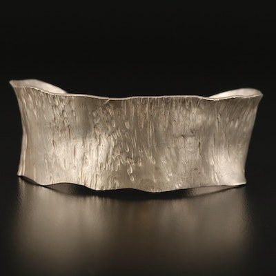 950 Silver Textured and Rippled Cuff