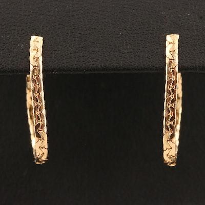 14K Bismark Chain Hoop Earrings