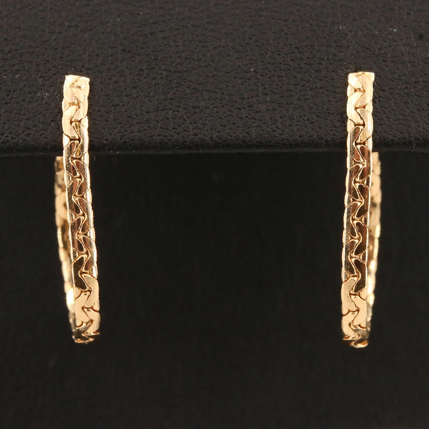 14K Bismark Chain Hoop Earrings