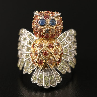 Sterling Silver Sapphire Owl Motif Ring
