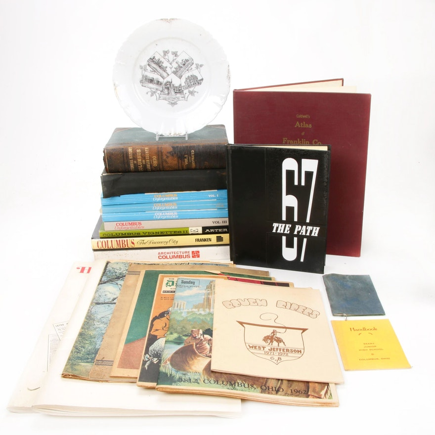 Columbus and Franklin County Books and Ephemera with OSU Commemorative Plate
