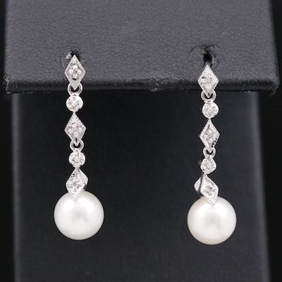 Sterling Silver Pearl and Diamond Dangle Earrings