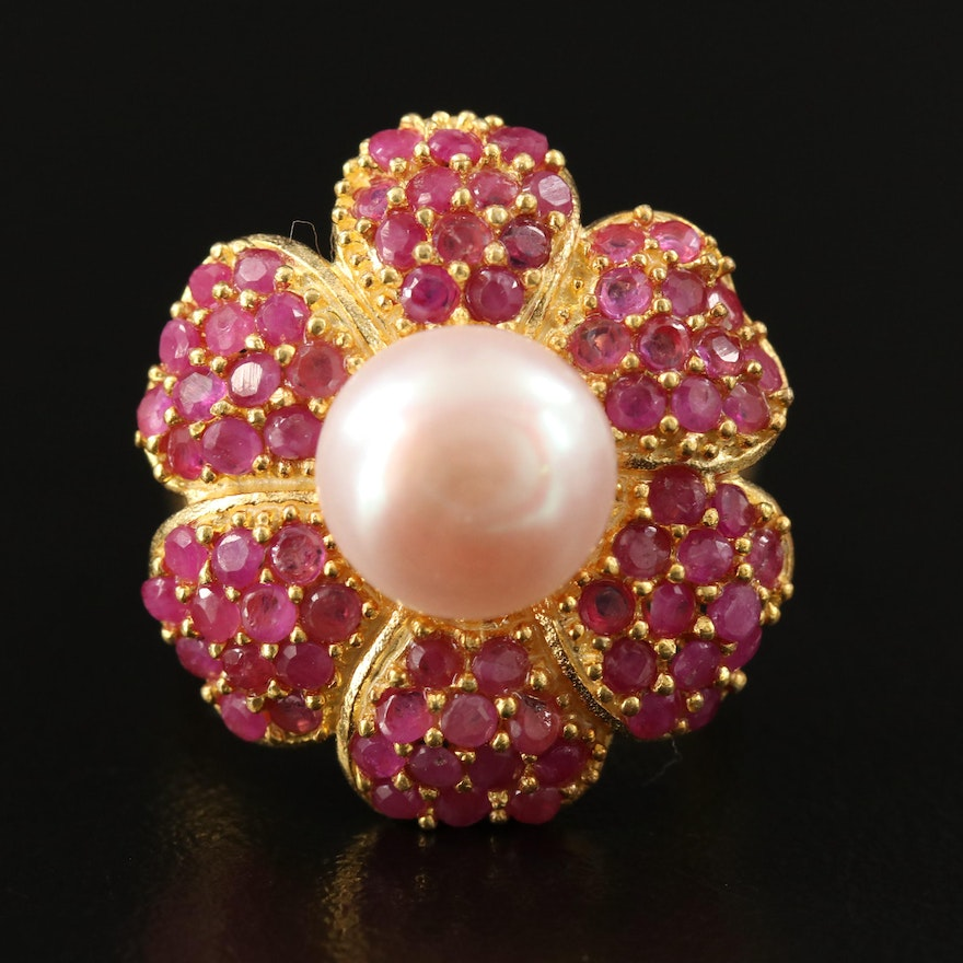 Sterling Silver Cultured Pearl and Ruby Flower Ring