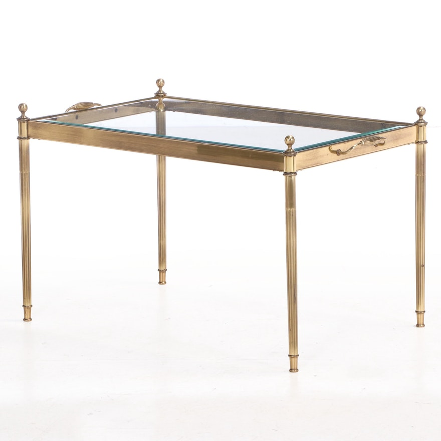 Brass and Glass Top Coffee Table, Late 20th Century