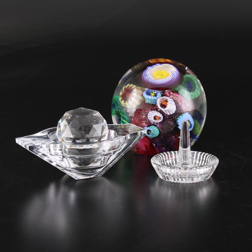 Aro Schulze Murrine Art Glass Orb, Nambé Crystal and Other Glass