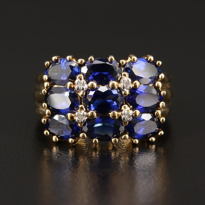 Sterling Silver Sapphire Ring with Diamond Accents