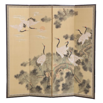 Japanese Red-Crowned Crane Hand Painted Folding Screen